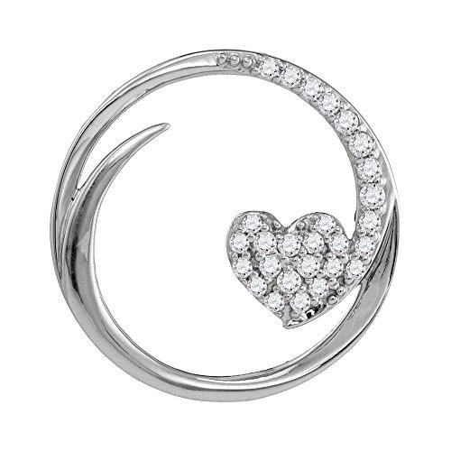 10k Gold Circle Heart Pendant - Roy Rose Jewelry 10K White Gold Ladies Diamond Heart Love Circle Pendant 1/4 Carat tw