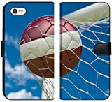 Luxlady iPhone 7 Flip Fabric Wallet Case Image ID: 34533116 Latvia Flag and Soccer Ball Football in Goal net