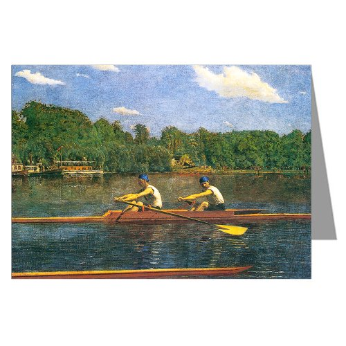 The Biglin Brothers Racing by Thomas Eakins Large Fine Art Greeting Card (Biglin Brothers Racing)