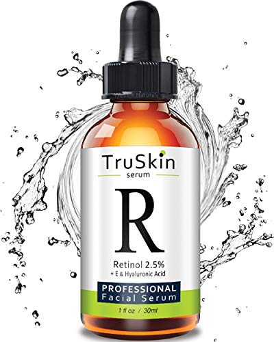 (TruSkin RETINOL Serum for Wrinkles, Fine Lines, contains Vitamin A, E and Hyaluronic Acid, Organic Green Tea, Jojoba Oil, BEST Anti Wrinkle Facial Serum,1oz)