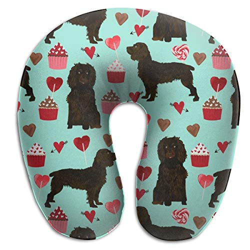 Travel Pillow, Boykin Spaniel Valentines - Love Hearts Cupcakes Valentines Day Border Collies - Aqua Memory Foam U Neck Pillow- For Lightweight Support In Airplane, Car, Train, Bus And Home