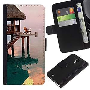 Billetera de Cuero Caso Titular de la tarjeta Carcasa Funda para Samsung Galaxy S4 Mini i9190 MINI VERSION! / House Bungalow Sea Ocean / STRONG