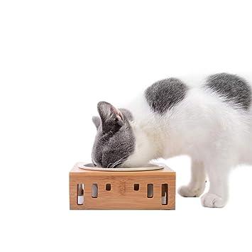 Tiunyeah Cuenco Elevado de cerámica Mascotas, comedero de Comida para Gatos ecológico, de Madera