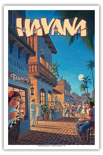 (Havana, Cuba - Vintage Style World Travel Poster by Kerne Erickson - Master Art Print - 12 x 18in)
