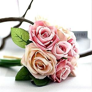 JJH 9 Branch Silk Plants Tabletop Flower Artificial Flowers 5