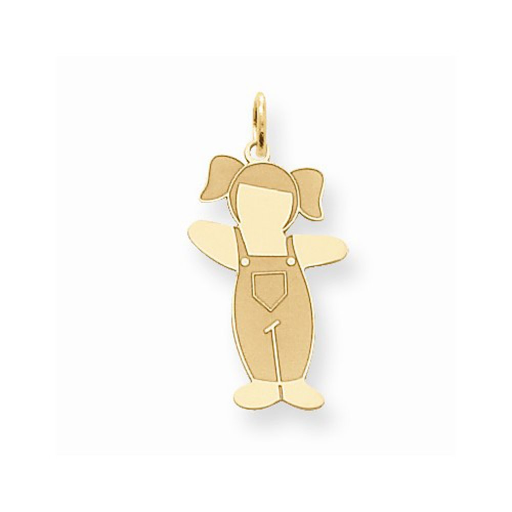 14K Yellow Gold Laser Cut Cuddle Girl with Overalls Charm Pendant