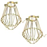 Cheap Rustic State Elegant Design Metal Wire Cages by Artifact Design for DIY Lighting Fixtures and Wall Pendant Lamp Guards with Adjustable Cage Openings Set of 2 Gold