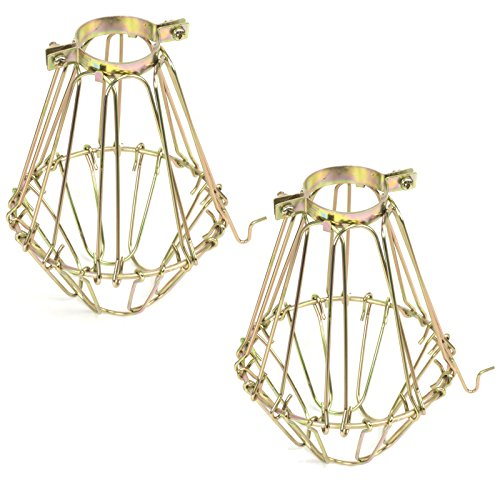 Lamp Guard Set - Elegant Design Metal Wire Cages by Artifact Design for DIY Lighting Fixtures and Wall Pendant Lamp Guards with Adjustable Cage Openings Set of 2 Gold