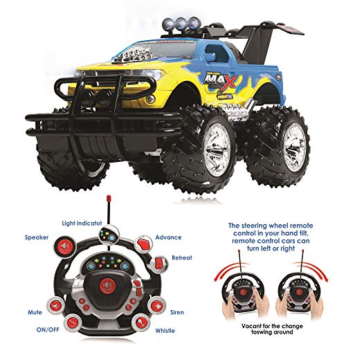 Remote Control Car for Boys and Girls, Rechargeable, Powerful Sound and Motion Sensor Steering Wheel Remote, Hobby Toy Race Car. RC monster truck, Electric Jeep for Kids and Adults, Best Gift. yellow (Sound Monster Truck)