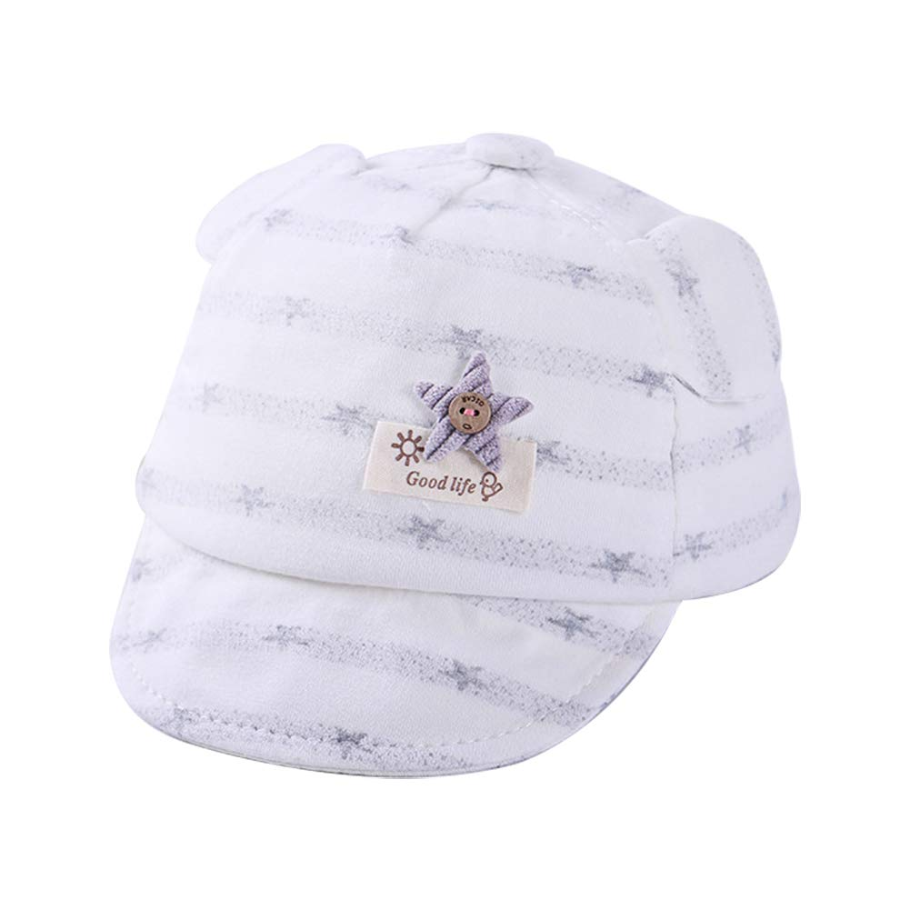 Skyeye 1Pc Cute Hat for 0-6 Months Baby Cotton Cuffed Hat Child Kids Visor Baseball Cap Grey