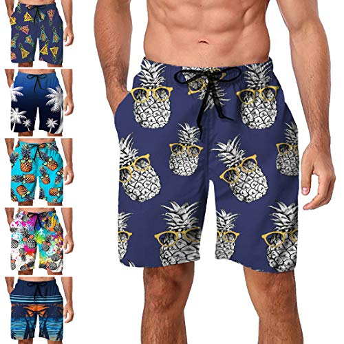 Freshhoodies Mens Hawaiian Swim Trunks Coconut Palm Tree Boardshorts with Mesh Lining Swimwear Bathing Suits Shorts (Style P1, XX-Large)