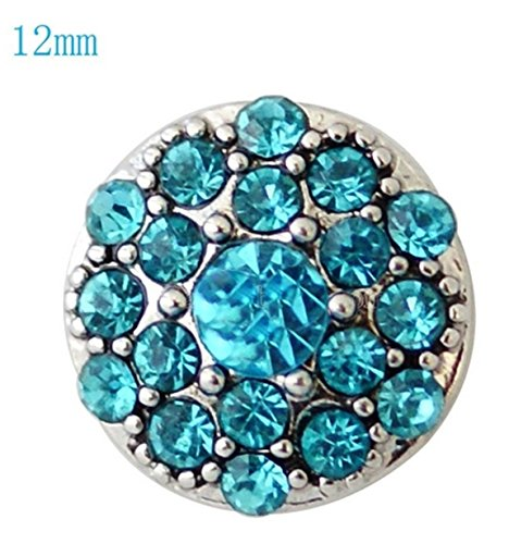 Rockin Angels Silver Blue Teal Rhinestone 12mm Mini Petite Charm For Ginger Snaps Magnolia - Charm Teal Silver
