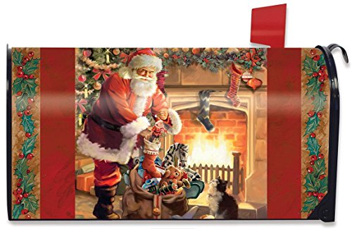 Santa by the Fireplace Magnetic Mailbox Cover Christmas Standard (Magnetic Fireplace Cover compare prices)