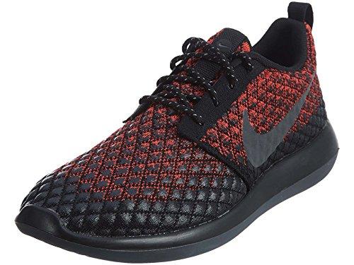 Nike Men's Roshe Two Flyknit 365 Running Shoes-Bright Crimson/Dark Grey-Black-10