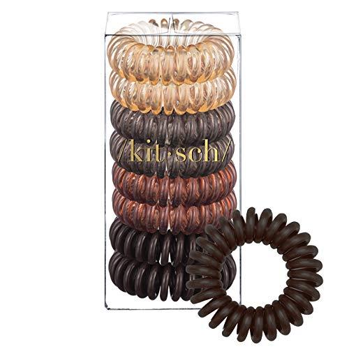 Kitsch Spiral Hair Ties, Coil Hair Ties, Phone Cord Hair Ties, Hair Coils - 8 Pcs, Brunette (Best Hair Ties For Thin Hair)