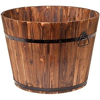 Amazon Com Real Wood Products Hwb Half Oak Whiskey Barrel Planter