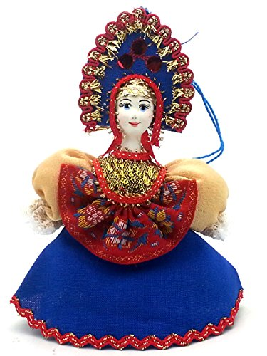 [CHRISTMAS Tree Ornament Russian Doll in traditional folk costume with porcelain hand painted face / Girl in a blue dress] (Porcelain Doll Costumes)