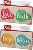 Faith and Believe Splotch Paint Design 4 Piece Absorbent Ceramic Coaster Set