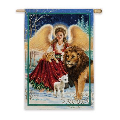 Cheap Angel, Lion, and Lamb Garden Flag Size: 43″ H x 29″ W