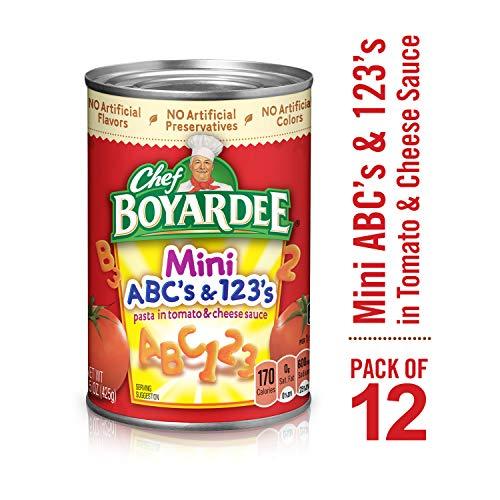 - Chef Boyardee Mini ABC's and 123's, 15 oz, 12 Pack
