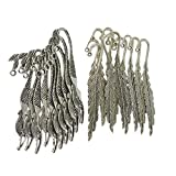 Dovewill 20Pcs Antique Silver Metal Feather Mermaid Bookmark Book Magazine Stationery