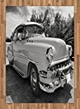 Vintage Area Rug by Lunarable, 50s 60s Retro Classic Pin Up Style Cars in Hollywood Movies Image Artwork, Flat Woven Accent Rug for Living Room Bedroom Dining Room, 5.2 x 7.5 FT, Black White and Gray