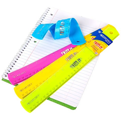 Westcott Twist-It Flexible Ruler, Assorted Colors, 12