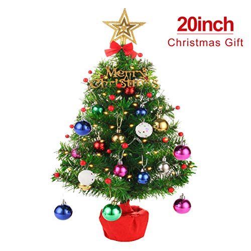 Apatner Tabletop Mini Christmas Tree 20 Inch Artificial Christmas Tree Desktop Xmas Tree Battery Operated Lighting for Christmas, Home, Kitchen, Dining Table Decor(All in One Set)