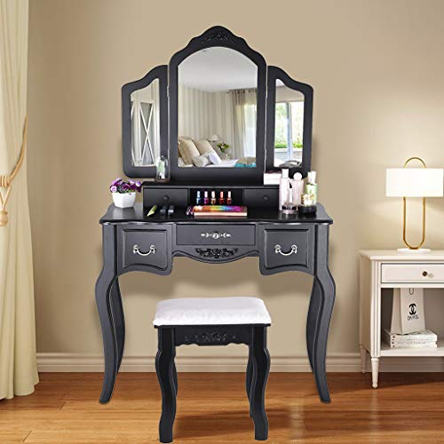 LLJEkieee Solid Wooden Dressing Table Set Makeup Table and Wooden Stool 3 Mirrors and 5 Organization Drawers Removable Organizers Easy Assembly (Black)