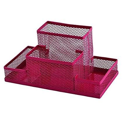 eDealMax Metal Escuela oficina del acoplamiento 4 compartimentos Escritorio Suministros Pluma caja de almacenaje del organizador