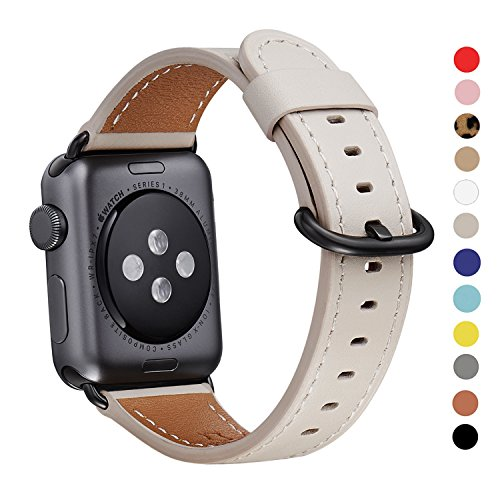 WFEAGL Compatible Apple Watch Band 38mm, Top Grain Leather Band Replacement Strap with Stainless Steel Clasp for iWatch Series 3,Series 2,Series 1,Sport, Edition (38mm IvoryWhite+Black Buckle)