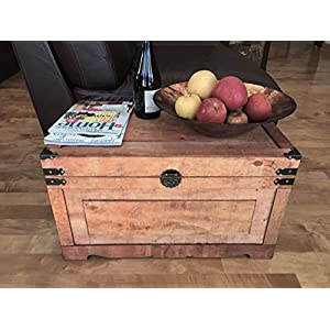 Newport Medium Wood Storage Trunk Wooden Treasure Chest - Brown