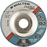 Walter Stainless Superior Grinding and Cutting Wheel, Type 27, Round Hole, Aluminum Oxide, 4-1/2'' Diameter, 1/8'' Thick, 7/8'' Arbor, Grit A-30-SS COMBO (Pack of 25)