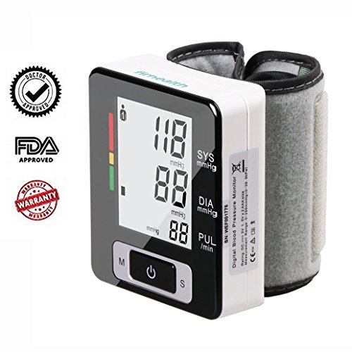 Global Key (Firhealth Blood Pressure Monitor FDA Approved with Automatic Digital Wrist Monitor Cuff, 2 x 90 Memory Recalls, IHB Indicator, Portable Case Perfect for Home Use)