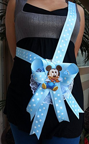 Baby Shower Mickey Mouse Mom To Be It's a Boy Sash Blue Ribbon and Corsage 1]()