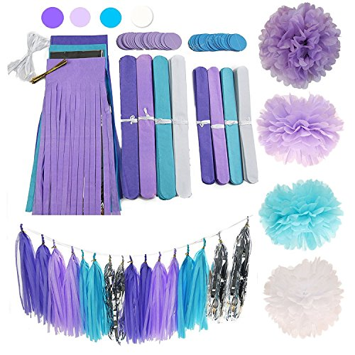 Cherry Down 26pcs Purple Lilac Blue White and Silver Party Decoration Set with tissue paper flower pom poms, tassel garland and polka dot garlands for Bridal Shower, Baby Shower or (Luau Party Ideas Food)