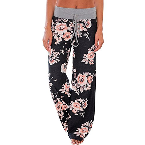 Ladybranch Women's Pajama Comfy Stretch Floral Print Lounge Pants High Waist Wide Leg Pants (Large, Black)