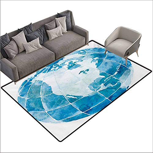 Floor Bath Rug Map Hand Drawn Watercolor Style Globe Sphere with North America Continent Paint Effect Quick and Easy to Clean W78 xL106 Blue ()
