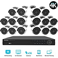 LaView 16 channel 4K home security system with 16 8MP 4K Bullet Cameras, 5TB Storage - Outdoor weatherprood IP Poe Surveillance cameras, 100ft Night Vision - LV-KNG9661616G8-T5