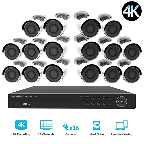 LaView 16 channel 4K home security system with 16 8MP 4K Bullet Cameras, 5TB Storage - Outdoor weatherprood IP Poe Surveillance cameras, 100ft Night Vision - LV-KNG9661616G8-T5 by LaView
