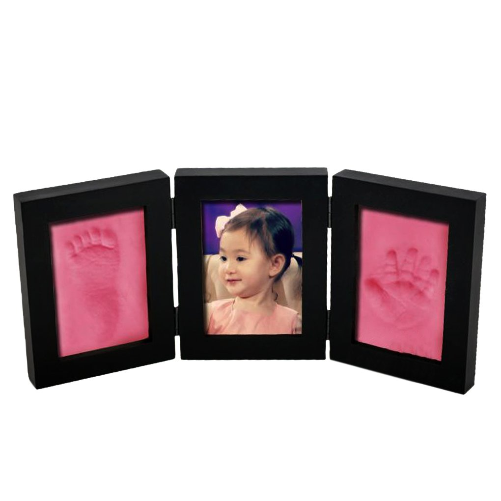 Babyprintフレーム記念品 – -新生児赤ちゃん手&足印刷写真フレーム、画像フレーム3折りたたみ時ベビーシャワーのギフト、ギフト新しいMom、部屋デスクトップ装飾、Preniumクレイ木製フレーム ブラック PHO-F-14  Black Frame+Pink Clay B071W3SR1K
