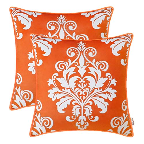 BRAWARM Pack of 2 Comfy Fleece Throw Pillow Covers Cases for Couch Sofa Bed Solid Vintage Damask Floral Soft Velvet Cushion Covers with Piping for Home Decoration 18 X 18 Inches Bright Orange (Best Material For Cushion Covers)