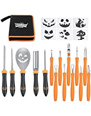 Upgraded 15PCS Pumpkin Carving Kit for Adults & Kids with Professional Detail Sculpting Tools, Heavy Duty Stainless Steel Tools with Carrying Case & 6 Templates for Halloween Decoration