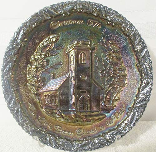 1970 Christmas Plate -- Fenton Glassware -- Little Brown Church in the Vale