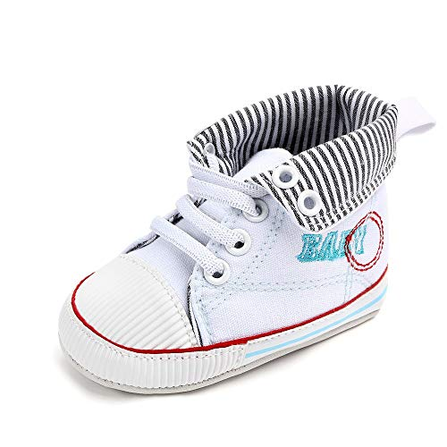 NUWFOR Newborn Toddler Baby Girls Boys Canvas Anti-Slip First Walkers Soft Sole Shoes(White,6-12Months) by NUWFOR (Image #6)
