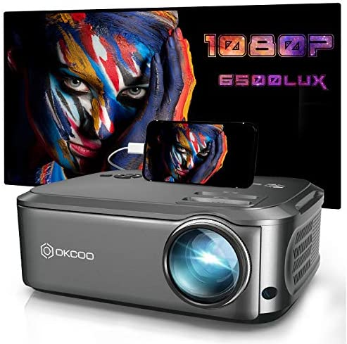 Projector, OKCOO Native 1080P Projector for Outdoor Movies,6500L HD Portable Projector with Max 200″ Display for Movie Night,Home Theater,Compatible with Smartphone,TV Stick,PS4,HDMI, VGA,AV and USB
