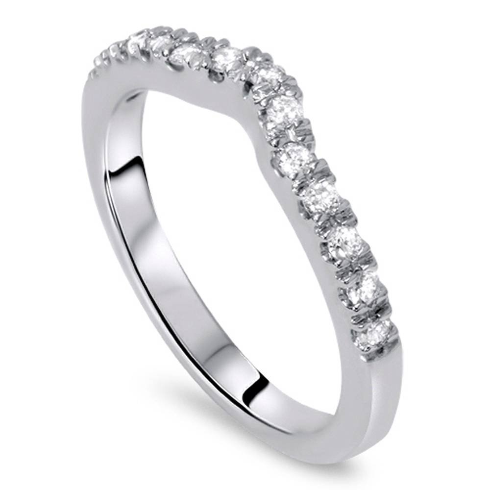 1/3ct Curved Diamond Wedding Guard Ring 14K White Gold - Size 5.5 by P3 POMPEII3