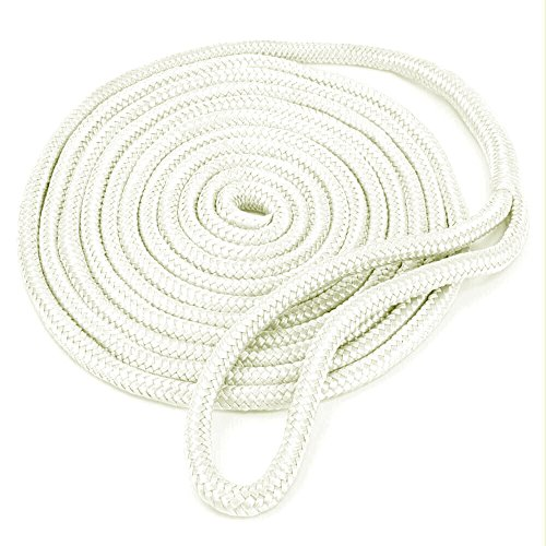 Amarine Made 1/2 Inch 25 FT Double Braid Nylon Dockline Dock Line Mooring Rope Double Braided Dock Line (White)