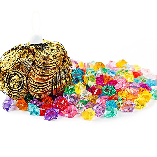 Oiuros 300 Pieces Pirate Gold Coins and Pirate Gems Jewelry Pack Party Favor. (150 Coins+150 Gems) -