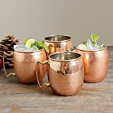 Copper Moscow Mule Mug Handmade of 100% Pure Copper, Nickel Lined, Brass Handle Hammered Moscow Mule Mug Set of 4